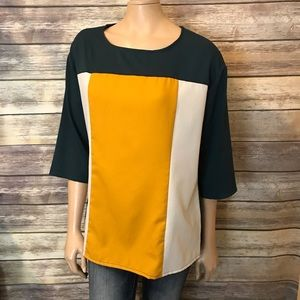 Shein Top L Green Yellow White Color Block Loose
